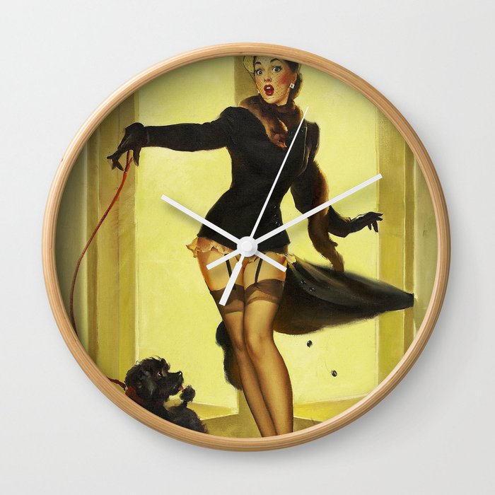 Pin Up Girl and Black Poodle Vintage Art Wall Clock by retroroxie ...