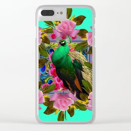 GREEN PEACOCK &  PINK ROSE GARDEN TURQUOISE ART Clear iPhone Case