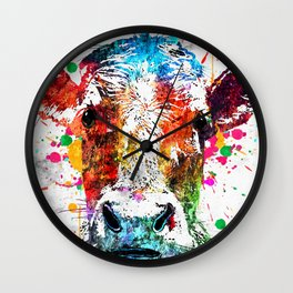 Cow Watercolor Grunge Wall Clock