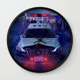 Tokyo Police Car in the fog Wall Clock