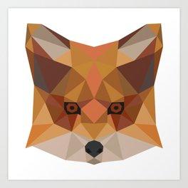 Fox head geometric hipster gift idea animal draw Art Print
