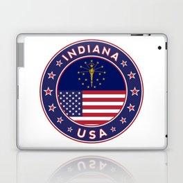 Indiana, Indiana t-shirt, Indiana sticker, circle, Indiana flag, white bg Laptop & iPad Skin