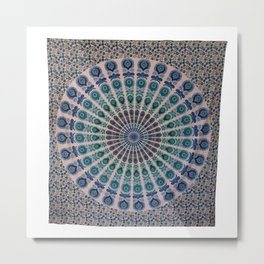 Indian Mandala Tapestry Peacock Wall Hanging Metal Print