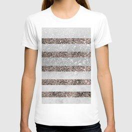 White Marble Rose Gold Glitter Stripe Glam #2 #minimal #decor #art #society6 T-shirt