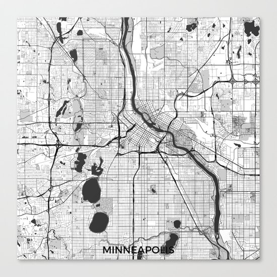 Minneapolis Map Gray Canvas Print