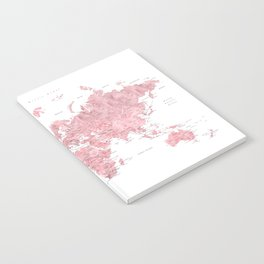 Light pink watercolor world map with cities, square Notebook