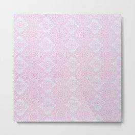 Blush pink lavender vintage elegant floral mandala Metal Print