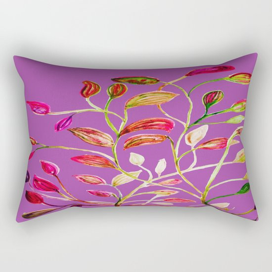 For Valentine's Day Enjoy Purple Plum, Red and Green Leaves! Rectangular Pillow