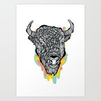 bison Art Prints featuring Bison by casiegraphics