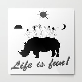 Dances on Rhino Metal Print