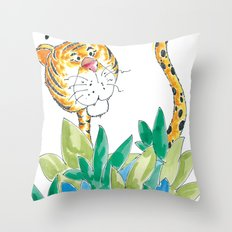 Spots, your tail is up! Throw Pillow