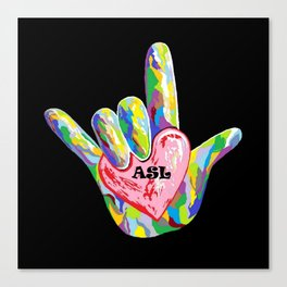 I Heart ASL Canvas Print