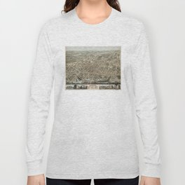 Vintage Pictorial Map of Brockton MA (1878) Long Sleeve T-shirt