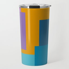Happy Color Block Geometrics in Yellow, Blue, Purple, and Pink Travel Mug