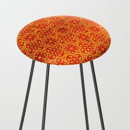 N67 - Yellow & Red Vintage Antique Geometric Traditional Moroccan Style. Counter Stool