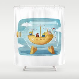 AIRSHIP IN A BOTTLE Shower Curtain