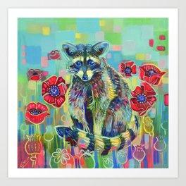 Raccoon with Poppies Art Print