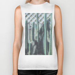 closeup green cactus with old vintage wood background Biker Tank