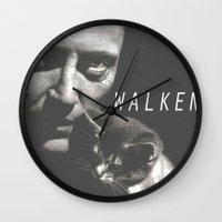 christopher walken Wall Clocks featuring Christopher Walken / Cat by Earl of Grey