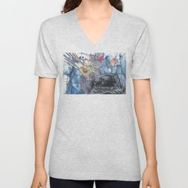 A Hand, a hat, and sunglasses Unisex V-Neck