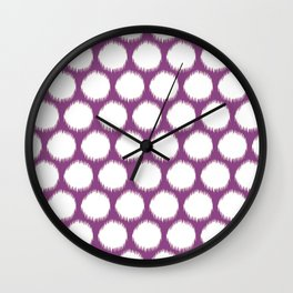 Plum Asian Moods Ikat Dots Wall Clock