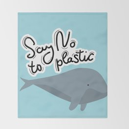 Say no to plastic. Whale, sea, ocean.  Pollution problem concept Eco, ecology banner poster. Throw Blanket
