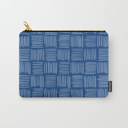 Prussian Blue Basketweave Pattern Carry-All Pouch