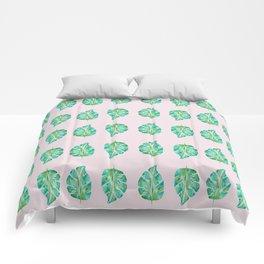 Pinky Green Monstera Comforters