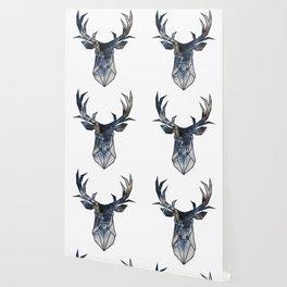 Deer Head Navy Marble Wallpaper