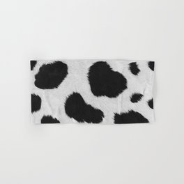 Black and white realistic cow fur texture Hand & Bath Towel