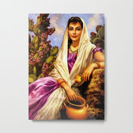 Jesus Helguera Painting of a Calendar Girl with Cream Shawl Metal Print