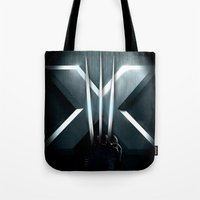 daenerys Tote Bags featuring X-MEN THE MUTAN CLAW by BeautyArtGalery