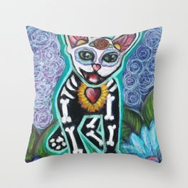 Turquoise Day of the Dead Cat Throw Pillow