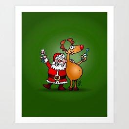Santa Claus and his Reindeer Art Print