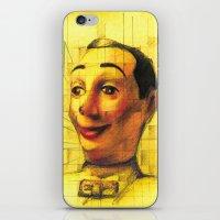 pee wee iPhone & iPod Skins featuring Pee Wee Herman Figurine ilustration by JUANK
