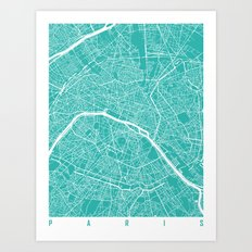 Paris map turquoise Art Print