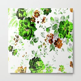 ROSES GREEN AND BROWN Metal Print