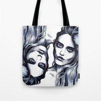 sky ferreira Tote Bags featuring Sky Ferreira by Hedi Slimane by Asquared2Art