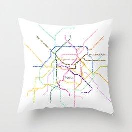Paris Subway Map Art Throw Pillow