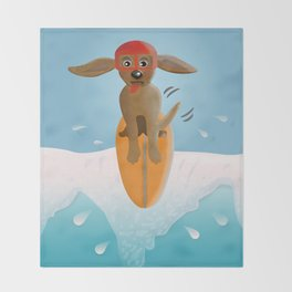 Surf Dog on Top of the Wave Throw Blanket