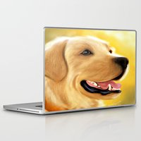 lab Laptop & iPad Skins featuring Yellow Lab by Becky's Digital Art