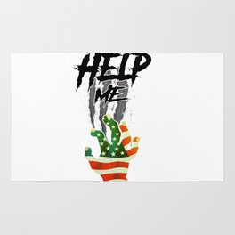 """""""HELP ME"""" American Flag Zombie/scary Movie Gag Gift funny Rug"""