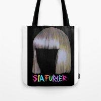 sia Tote Bags featuring Sia head by Melina Espinoza