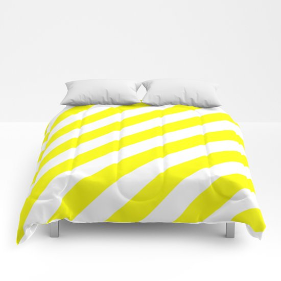 Diagonal Stripes (Yellow/White) Comforters