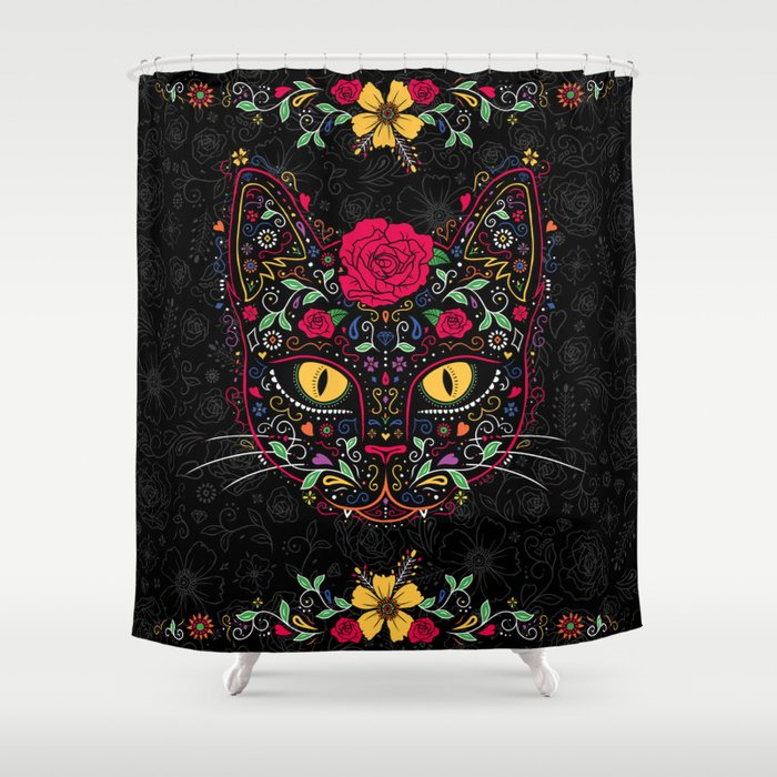Day Of The Dead Bathroom Set: Day Of The Dead Kitty Cat Sugar Skull Shower Curtain By
