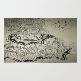 Ink Doodle Sprial Design Rug