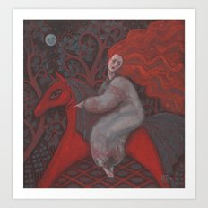 Red Horse, redhaired woman, magic night forest, folk art Art Print