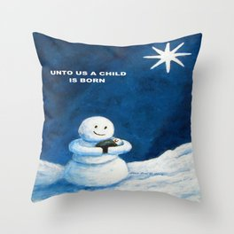 Until Us A Child Is Born  Snowmen Painting By Annie Zeno Throw Pillow