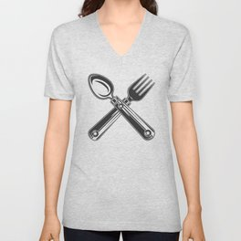 Dining set - a spoon and a fork. Lover to eat. Hungry. Glutton. Heavy eater. Eat. Food. Unisex V-Neck