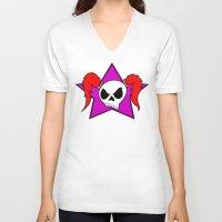rock n roll V-neck T-shirts featuring Rock-N-Roll Brat  by Los Espada Art